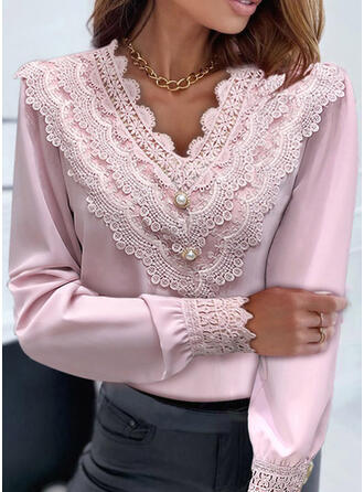 Solid Lace Beaded V-Neck Long Sleeves Casual Blouses