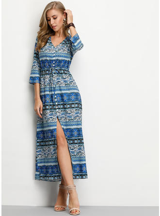 Print 1/2 Sleeves Shift Maxi Casual/Boho/Vacation Dresses