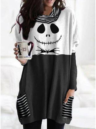 Halloween カラーブロック 印刷 縞模様の 動物 バンドカラー 長袖 ()