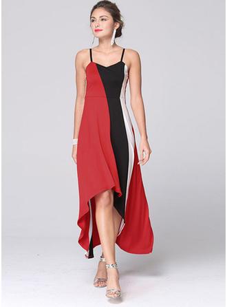 Cotton Blends With Color-block Asymmetrical Dress