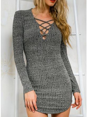 Sólido Escote en V Vestido de Suéter