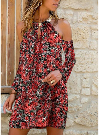 Print/Floral Long Sleeves/Cold Shoulder Sleeve Shift Above Knee Casual Dresses