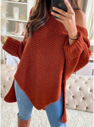 Solid One Shoulder Asymmetrical Sexy Sweaters