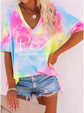 Heart Print Tie Dye Letter V-Neck 1/2 Sleeves T-shirts