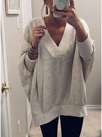 Mieszanki bawełniane V-neck Jednolity kolor Sukienka sweterkowa