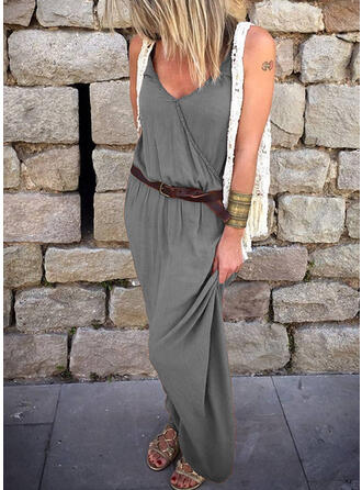 Solid Sleeveless Sheath Casual Maxi Dresses