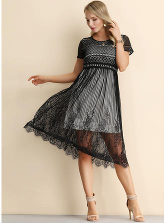 Lace/Solid Short Sleeves A-line Midi Little Black/Casual/Elegant Dresses