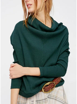 Cotton Spandex Turtleneck Plain Sweater