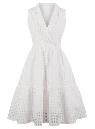 Solid V-neck A-line Dress