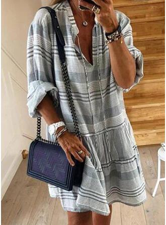 Print/Striped Long Sleeves Shift Knee Length Casual Dresses