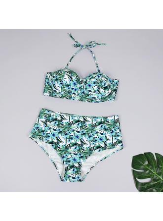High Waist Strap V-neck Fashionable Plus Size Bikinis Swimsuits
