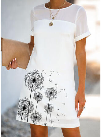 Lace/Print Short Sleeves Shift Above Knee Casual Dresses