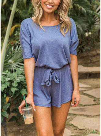 Solid Round Neck Short Sleeves Casual Vacation Jumpsuit