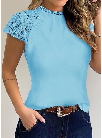 Solid Patchwork Lace Round Neck Short Sleeves Casual Blouses