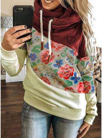 Print Color Block Blomster Lange ærmer Hoodie