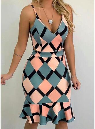 Geometric Print Sleeveless Sheath Knee Length Casual/Vacation Dresses