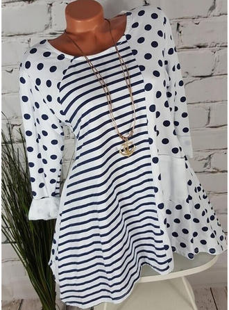 Striped PolkaDot Round Neck Long Sleeves Casual Knit Blouses