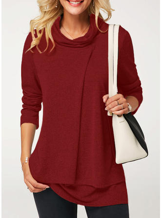 Solid High Neck Long Sleeves Casual Knit Blouses