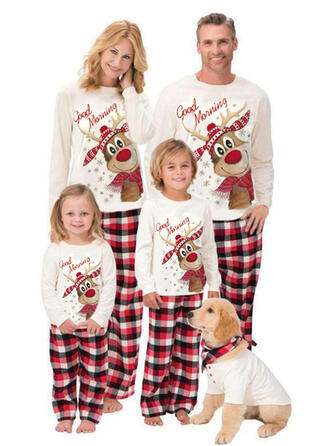 Reindeer Plaid Letter Print Family Matching Christmas Pajamas