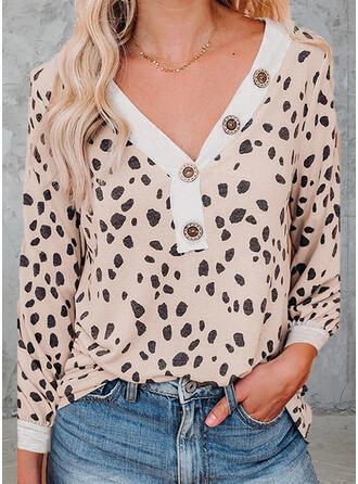 leopardo Scollatura a V Maniche lunghe Magliette