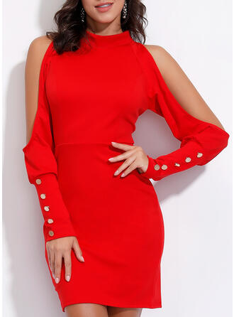 Solid Long Sleeves/Cold Shoulder Sleeve Bodycon Above Knee Casual/Elegant Dresses