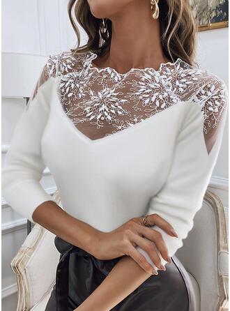 Pevný Dantelă Kulatý Výstřih Dlouhé rukávy Elegant Bluze