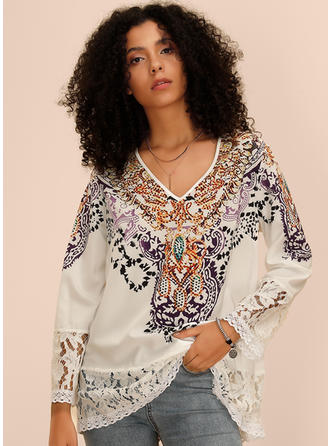 Print Lace V Neck Long Sleeves Casual Blouses