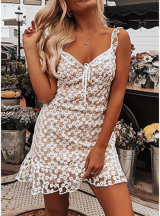 Lace/Floral Sleeveless Sheath Above Knee Sexy/Casual/Party/Vacation Dresses