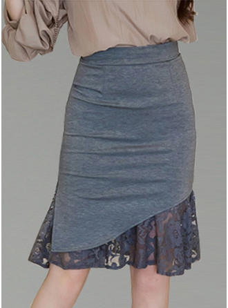 Polyester Cotton Plain Lace Knee Length Bodycon Skirts