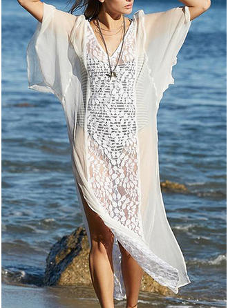 Lace/Solid 1/2 Sleeves/Batwing Sleeves Shift Midi Casual/Vacation Dresses
