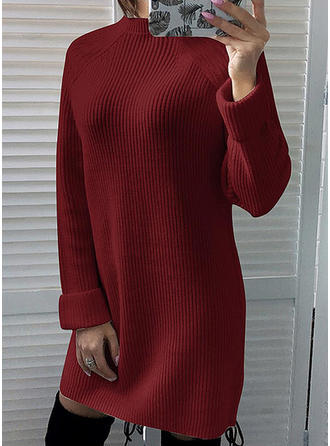 Cotton Spandex Polyester Crew Neck Plain chunky knit Sweater Dress