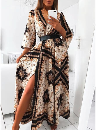 Print 3/4 Sleeves A-line Skater Vintage/Party Maxi Dresses