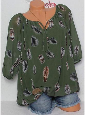 Print Off the Shoulder 1/2 Sleeves Casual Elegant Blouses