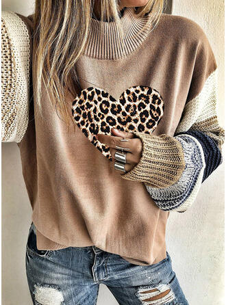 Color Block Leopard Heart Turtleneck Casual Sweaters