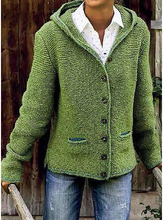 Solid Chunky knit Pocket Hooded Sweaters