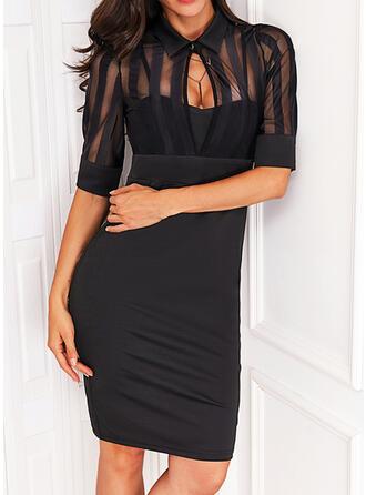 固体 1/2袖 シースドレス 膝上 リトルブラックドレス/エレガント ドレス