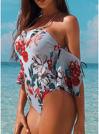 Leopard Floral Off the Shoulder Beautiful Attractive Amazing One-piece Swimsuits