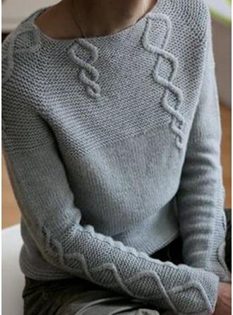 Jednolity Prążkowana dzianina Masywna dzianina Okrągły dekolt Swetry