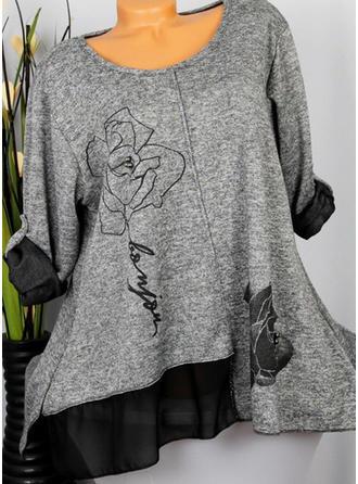 Распечатать Цветочный Шею Длинные рукова Повседневная Вязание Блузы