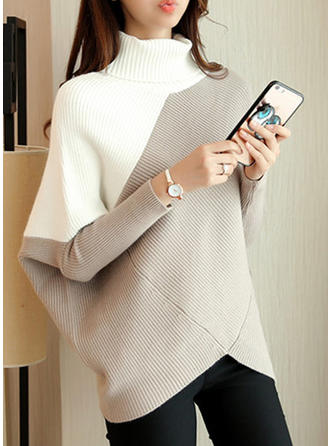 Cotton Turtleneck Color Block Sweater