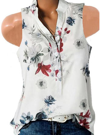 Print Floral V Neck Sleeveless Button Up Casual Blouses