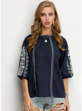 Embroidery Round Neck 1/2 Sleeves Casual Elegant Blouses