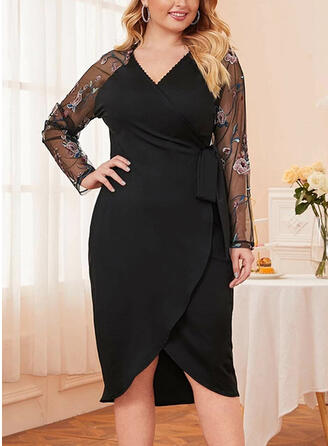 Patchwork Long Sleeves Sheath Party/Elegant/Plus Size Midi Dresses