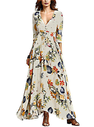Print Bohemian V-neck Maxi A-line Dress