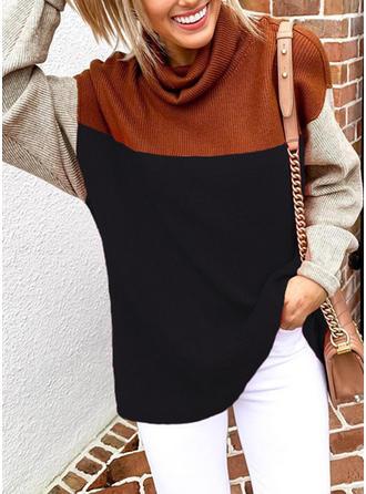 Colorblock Magas nyak Hosszú ujjú Hétköznapokra robić na drutach πουκαμίσες