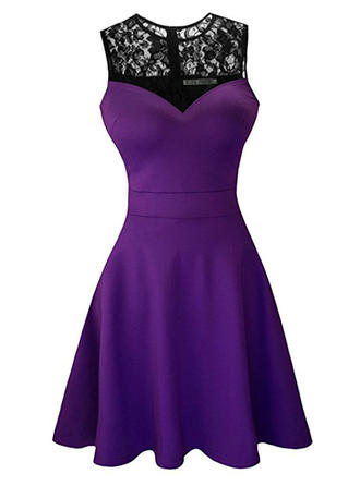 Lace Sleeveless A-line Above Knee Vintage/Party Dresses