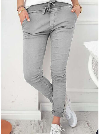 Pockets Shirred Long Elegant Sexy Skinny Pants