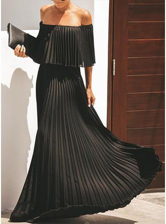 Couleur Unie Manches 3/4 Trapèze Maxi Petites Robes Noires/Fête/Élégante Robes