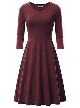 Solid Long Sleeves A-line Knee Length Vintage/Little Black Dresses