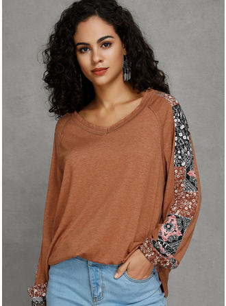 Print Patchwork V-Neck Long Sleeves Casual Oversized T-shirts